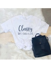 FAMS Design White 'Classy But I Cuss A Little' Tee