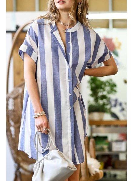 Mazik 'Clear Skies' Stripe Button Down Dress