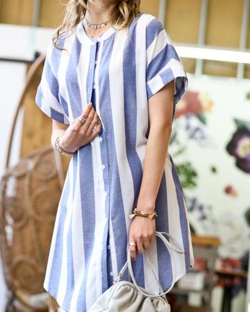 Mazik Mazik 'Clear Skies' Stripe Button Down Dress