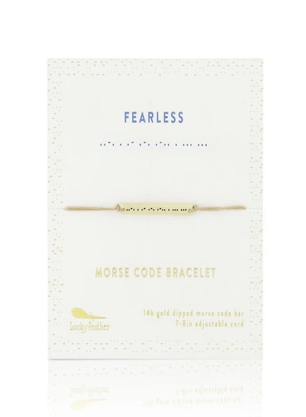 Lucky Feather Morse Code Bracelet | Fearless