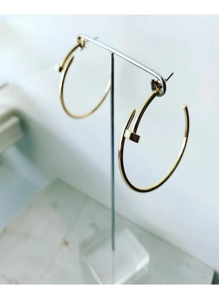 """Must Have 'Nailed It' CZ Pave Hoop Earrings - 1.25"""" (More Colors)"""