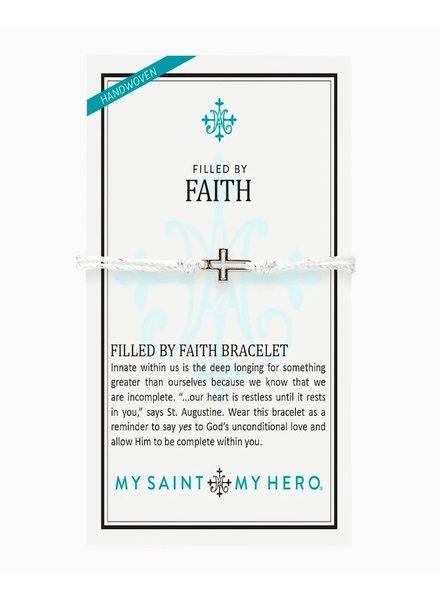 My Saint My Hero Silver 'Filled By Faith' Open Cross Bracelet
