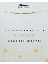 Lucky Feather Morse Code Necklace   Blessed