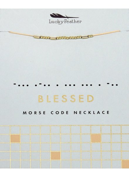 Lucky Feather Morse Code Necklace | Blessed
