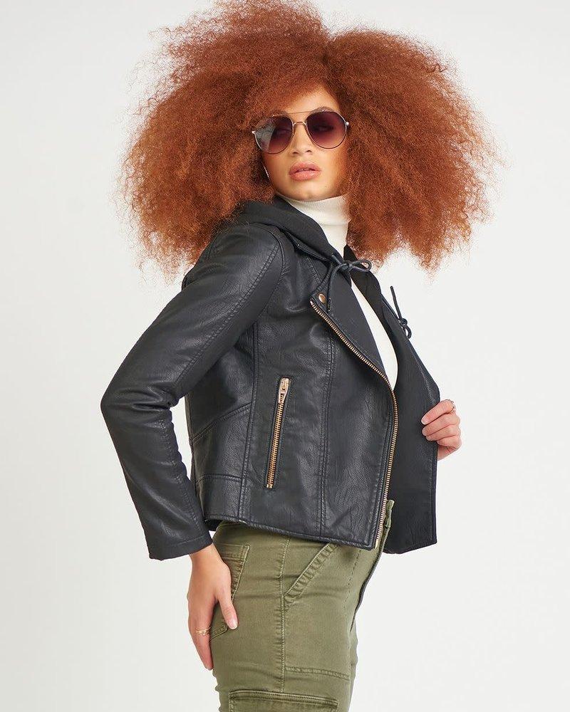 Dex Dex 'Ahh Snap' Faux Leather Moto Jacket