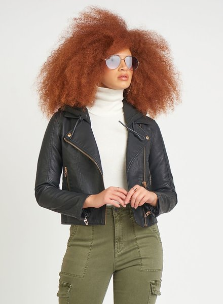 Dex 'Ahh Snap' Faux Leather Moto Jacket