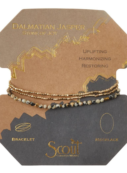 Scout Curated Wears Dalmatian Jasper/Gold Delicate Stone Wrap Bracelet/Necklace