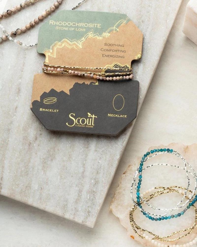 Scout Curated Wears Scout Dalmatian Jasper/Gold Delicate Stone Wrap Bracelet/Necklace