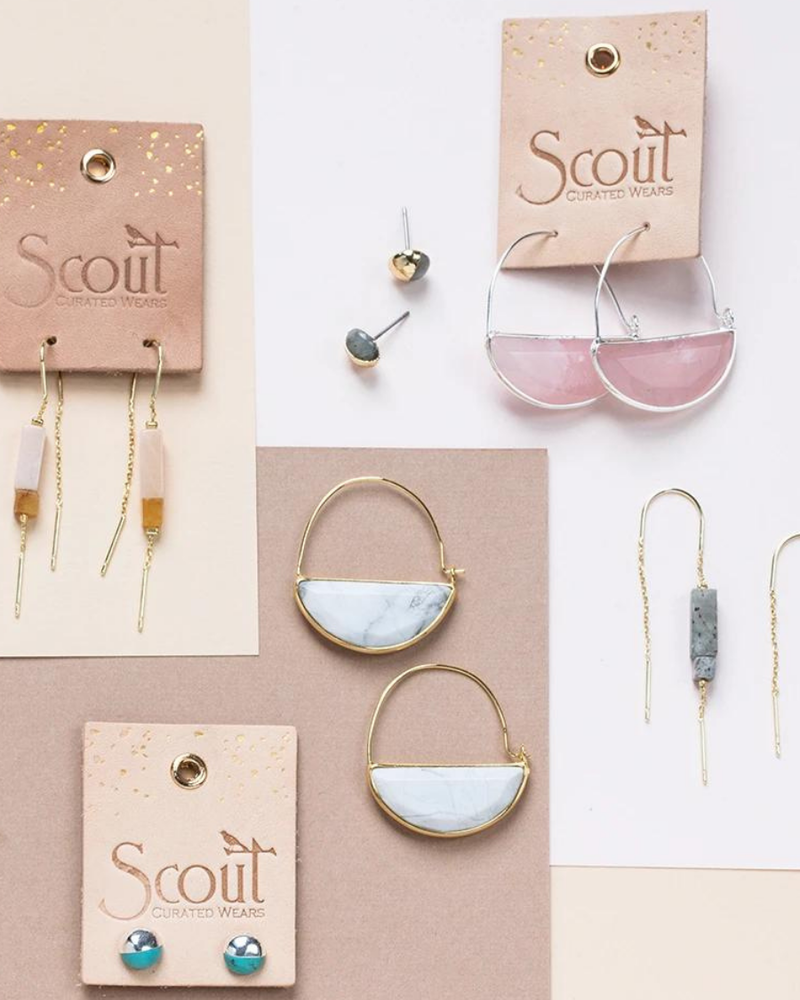 Scout Curated Wears Scout Howlite & Gold Dipped Stone Stud Earrings
