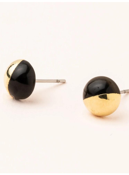 Scout Curated Wears Black & Gold Dipped Stone Stud Earrings