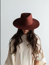 Gigi Pip Rusty Red 'Dakota' Triangle Crown Wide Flat Brim Fedora