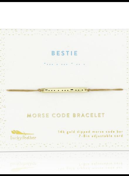 Lucky Feather Morse Code Bracelet | Bestie