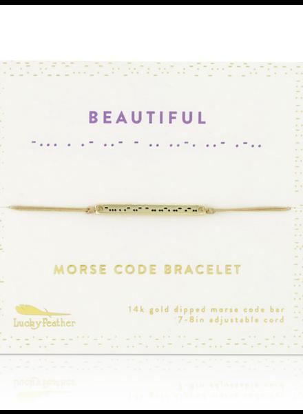 Lucky Feather Morse Code Bracelet | Beautiful