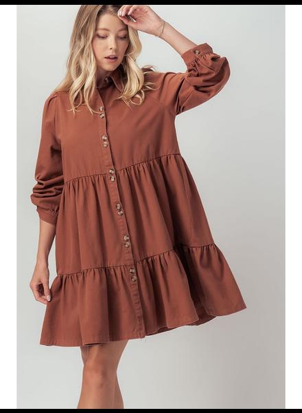 Urban Daizy Coco Brown 'Ingalls' Ruffle Tiered Dress