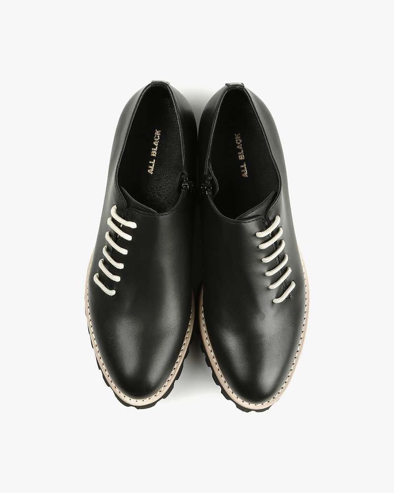 All Black All Black Side Cord Shoe Black with Ivory Lace