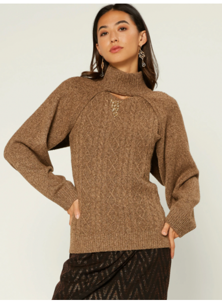 Current Air Walnut Brown 2-in-1 'Shrug It Off' Sweater