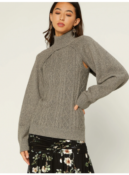 Current Air Steel Grey 2-in-1 'Shrug It Off' Sweater