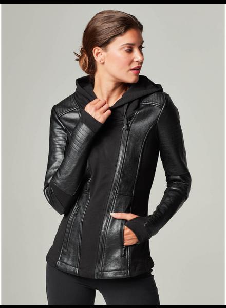 Blanc Noir 'Asym' Hooded  Moto Jacket