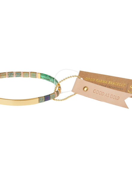 Scout Curated Wears Good Karma Good As Gold Forest/Blush/Gold Miyuki Bracelet