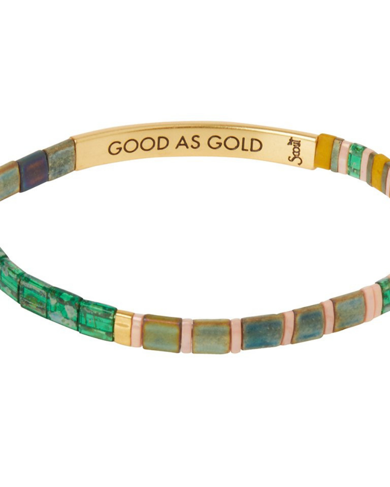 Scout Curated Wears Scout Good Karma Good As Gold Forest/Blush/Gold Miyuki Bracelet