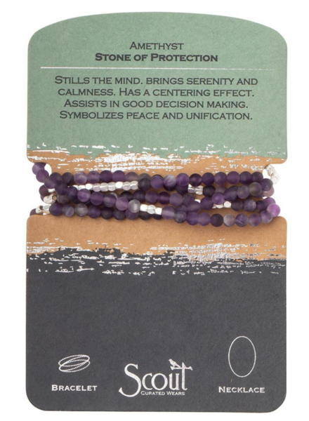Scout Curated Wears Amethyst/Silver  Stone Wrap Bracelet/Necklace
