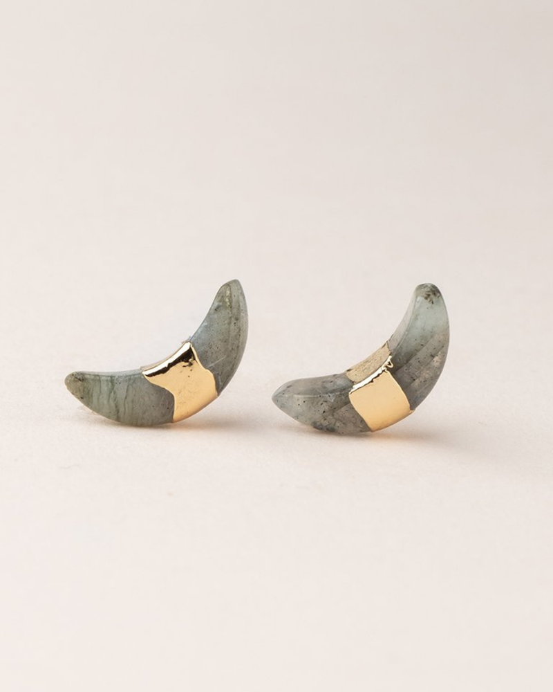 Scout Curated Wears Scout Labradorite/Gold Crescent Moon Stud
