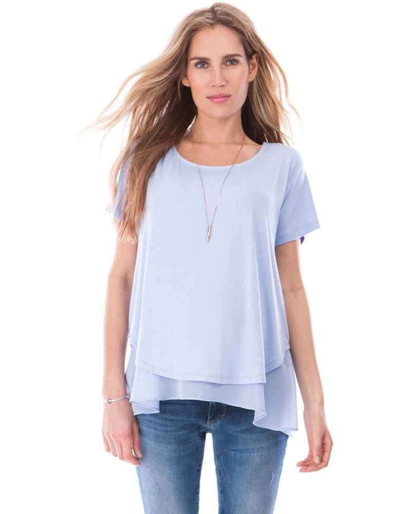 Seraphine Maternity Seraphine Maternity Powder Blue 'Roxanne' Layer Nursing Top (Large) **FINAL SALE**
