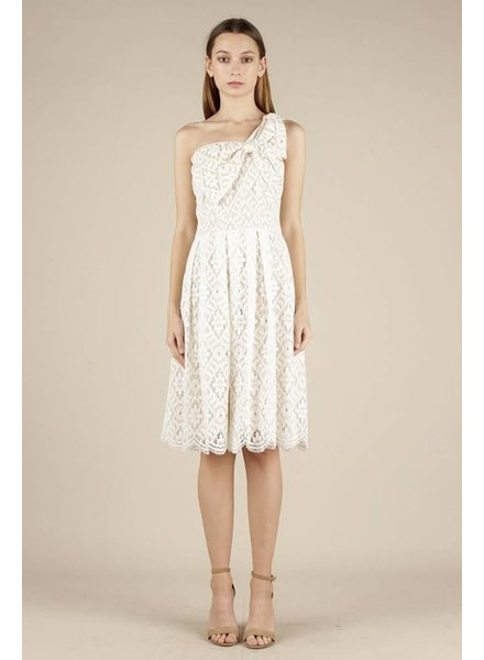 Current Air 'Alyce' One Shoulder Ribbon Lace Dress **FINAL SALE**
