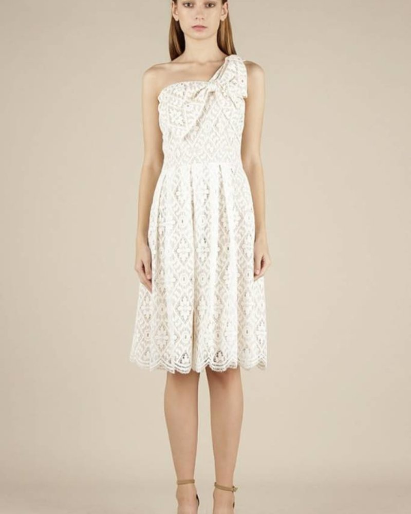 Current Air Current Air 'Alyce' One Shoulder Ribbon Lace Dress **FINAL SALE**