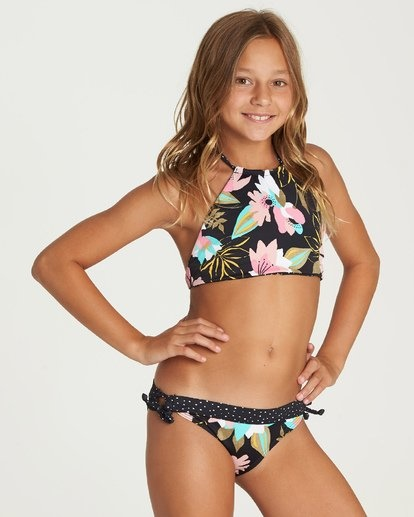 Night Bloom High Neck Bikini Set-2