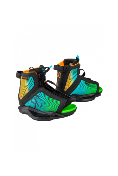 Vision Boys Wakeboard Boot-Black/Orange/Green-5/8.5