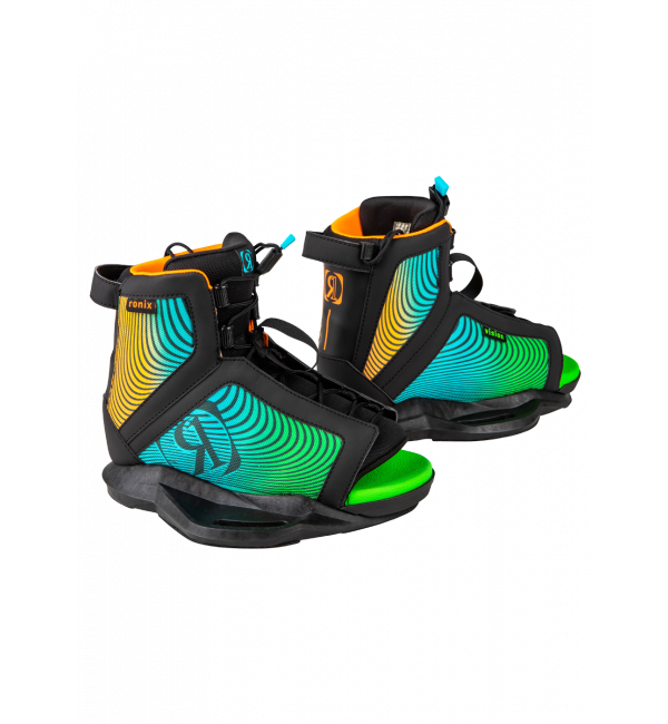 Vision Boys Wakeboard Boot-Black/Orange/Green-5/8.5-1