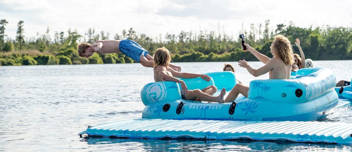 Reef Lounge 4 Person Floatie-Blue Palms-2