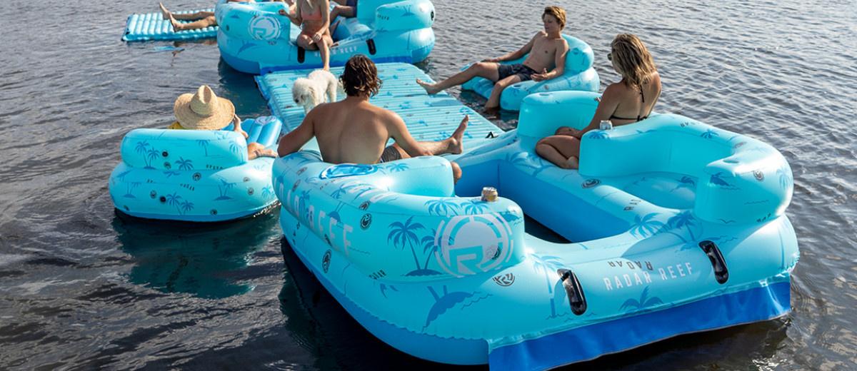 Reef Lounge 4 Person Floatie-Blue Palms-3