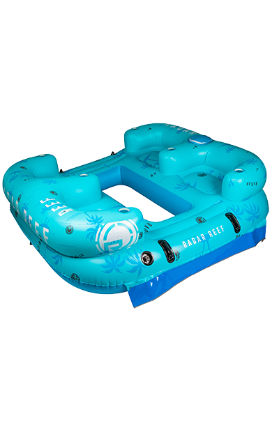 Reef Lounge 4 Person Floatie-Blue Palms-1