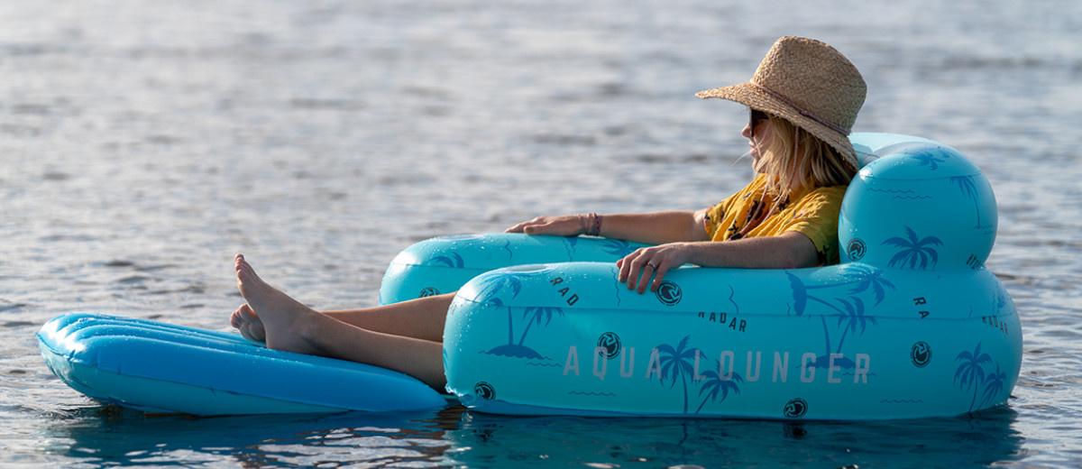 Aqua Lounger Floatie-Blue Palms-1