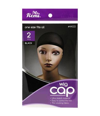 2 Piece One Size Fits All Wig Cap Black