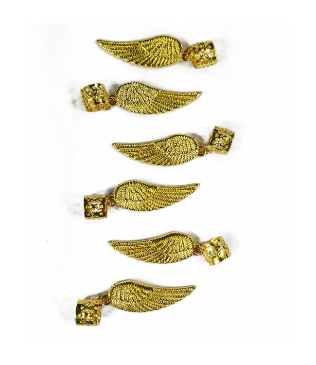 Charm Filigree Tubes Gold Angel Wing - 6 pcs