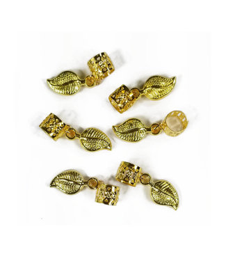 Charm Filigree Tubes Gold Leaf - 6 pcs