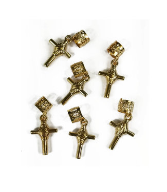 Charm Filigree Tubes Bold Cross - 6pcs