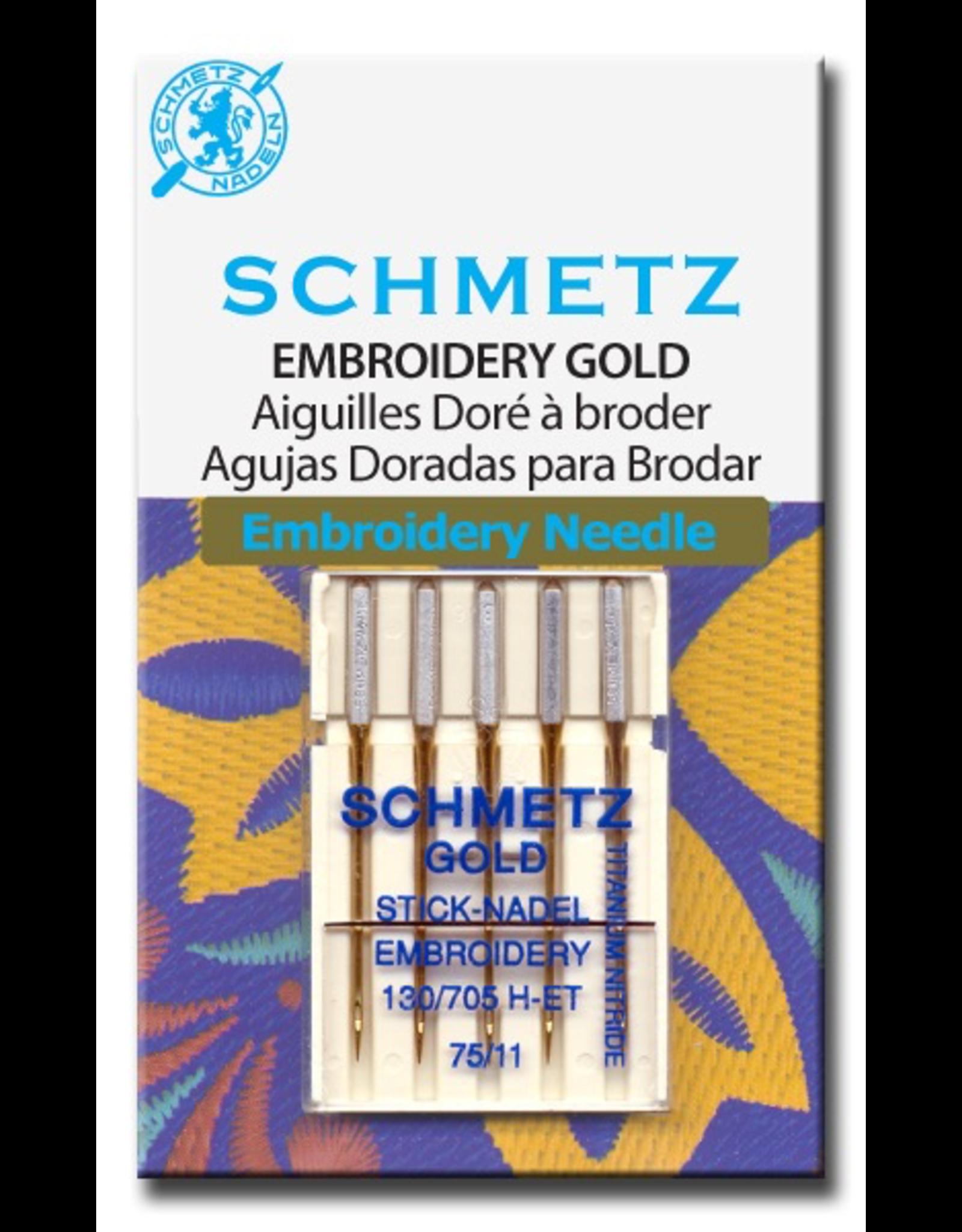 Schmetz Gold Titanium Embroidery Machine Needles Size 75/11