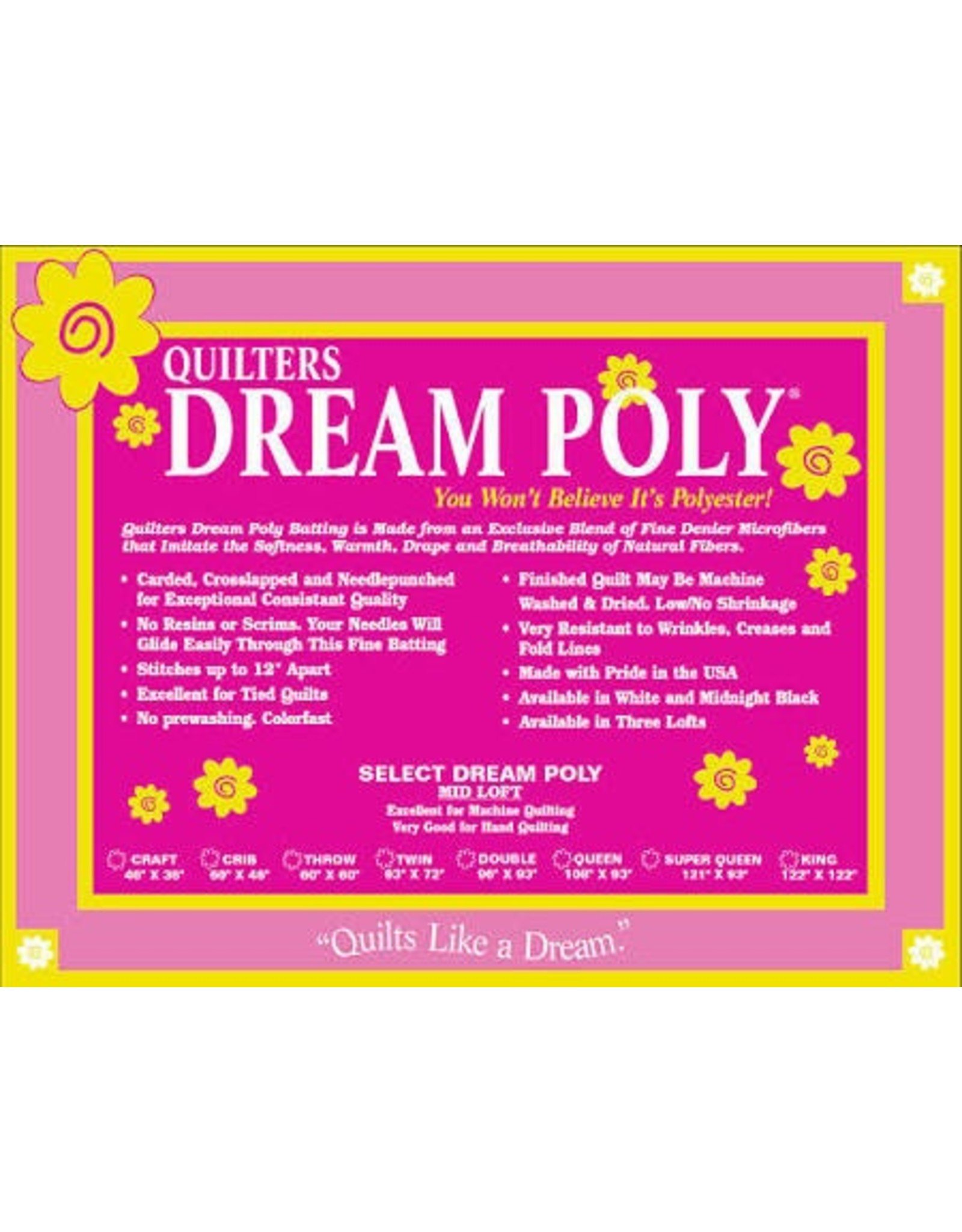 "Quilters Dream Batting Quilters Dream Batting Poly Select 93"" by the Yard"