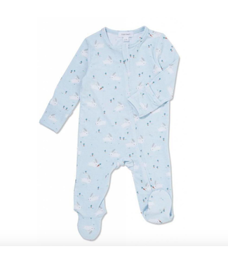 Angel Dear Baby Bunnies Blue Zipper Footie