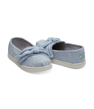 Toms Light Bliss Blue Speckled Chambray Dots Bow