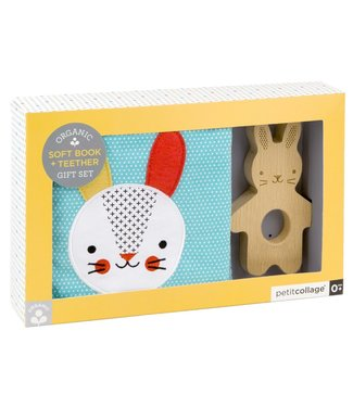 PetitCollage Soft Bunny Book + Teether