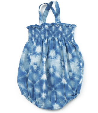 Angel Dear Indigo Shibori Smocked Sunsuit