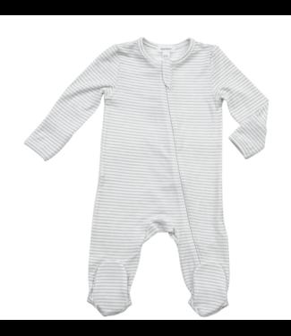 Angel Dear Basics Grey Stripe Zipper Footie