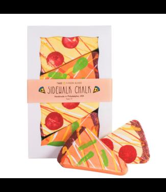 Twee Pizza Slices Sidewalk Chalk