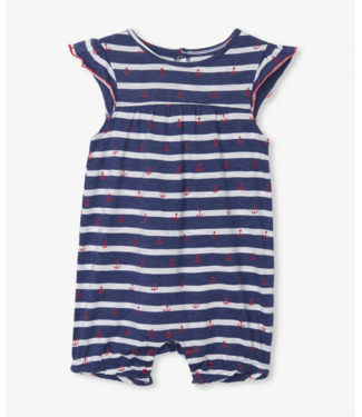 Hatley Nautical Stripe Flutter Sleeve Romper