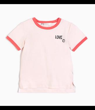 "Light Pink ""Love Tennis"" Ringer Tee"